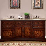 Silkroad Exclusive Travertine Stone Top Double Sink Bathroom Vanity with Bath Cabinet, 72', Medium Wood