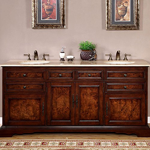 Silkroad Exclusive Travertine Stone Top Double Sink Bathroom Vanity with Bath Cabinet, -