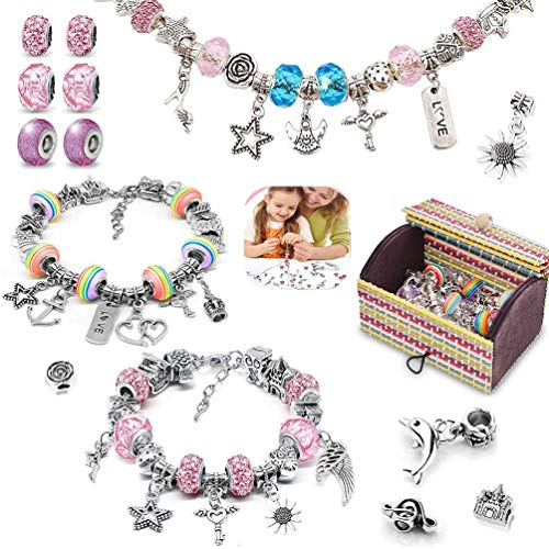 Bracelet Making Kit, 56pcs DIY Jewelry Making Kit with 3pc Silver Plated Bracelet Chains - Charm Bracelets for Girls Teen Kid - Great Gift on Christmas Birthday