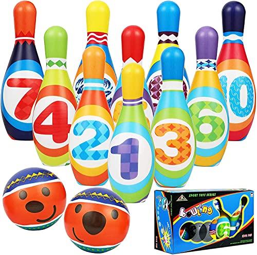 STAY GENT Kegelspiel für Kinder, Weich Bowlingkugel mit 10 Pins und 2 Kugeln, Bowling Innen Outdoor Spiele für Kinder, Lerngeschenke für Kinder im Alter von 3+ Jahren