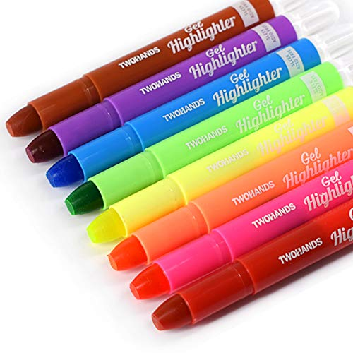 TWOHANDS Bible Gel Highlighter, Dry Highlighter, No Bleed, 8 Assorted Colors, Bible Journaling Supplies, Bible Markers for Tabs 20239