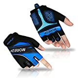 Achiou Cycling Gloves Half Finger Road and Mountain Bicycle Glove Breathable Shock-Absorbing Men and Women Fingerless Anti-Slip Padded Gel Sports Short Glov for Biking Driving Motorcycle (Blue ,L)