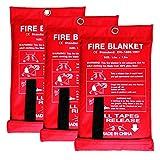 GRACECOTT Fire Blanket Fiberglass Fire Emergency Blanket Suppression Blanket Flame Retardant Blanket Emergency Survival Safety Cover for Home Kitchen, Camping, Fireplace, Car, RV, Boat (3 Pack)