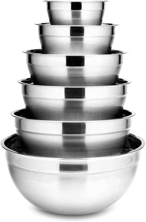 DSFEOIGY 6Pcs Stainless Steel Bowls Set Capacity 1.5-5L Elegant Max 46% OFF Nesting