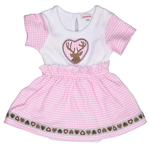 Eisenherz Babybody in Dirndl-Look Body mit Hirsch Stickerei für Mädchen, rosa/weiß, in Größe 86