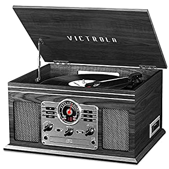 Victrola Nostalgic 6-in-1 Bluetooth Record Player & Multimedia Center with Built-in Speakers - 3-Speed Turntable CD & Cassette Player AM/FM Radio   Wireless Music Streaming   Grey
