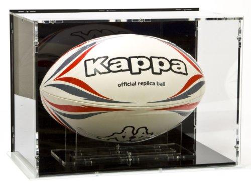 SORA Rugbyball Vitrine mit schwarzem Boden und schwarzer Rückwand für Größe 5