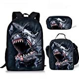HUGS IDEA 3D Shark Backpack Insulted Lunch Bag Pen Case Set for Kids Teen Boys Back to School