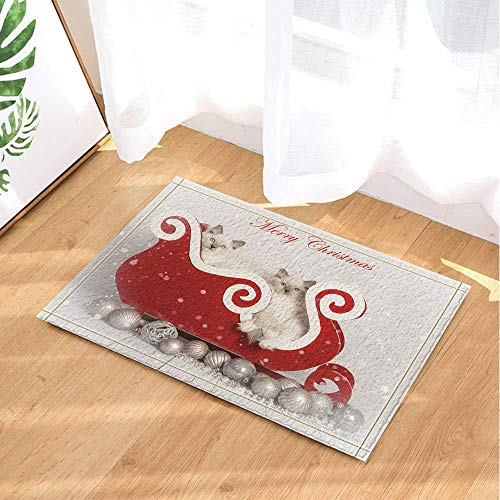DcfxPcltcgi Merry Christmas carpet, cat Christmas decoration ball on red sleigh, children's room kitchen bathroom absorbent durable non-slip soft flannel cushion machine washable