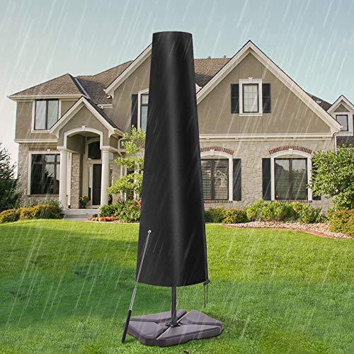 Essort 600D Oxford Housse de Protection étanche pour Parasol avec Fermeture éclair, étui de Protection Noir pour Parasol adapté pour Parasol de Jardin, 189 cm × 57.5 cm × 26 cm