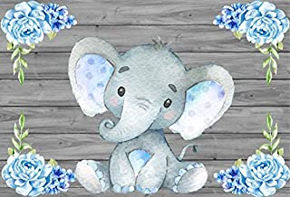 Yeele 10x8ft Baby Shower Photo Booth Photography Backdrops Cute Light Blue Calf Elephant Watercolor Flowers Wood Floor Wall Background Pictures Party Banner Decoration Portrait Shooting Studio Props