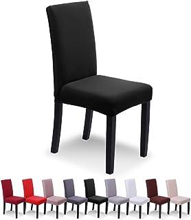 SaintderG® Fundas para sillas Pack de 6 Fundas sillas Comedor, Lavable Extraíble Funda, Muy fácil de Limpiar, Duradera Modern Bouquet de la Boda, Hotel, Decor Restaurante (Negro, Pack de 6)