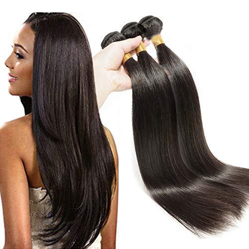 Elailite Extensiones Cabello Natural Cortina Pelo Humano Indio 100% Remy Human Hair Bundles sin Clip #1B Negro Natural 1 Pieza 100g (Liso 25 cm)