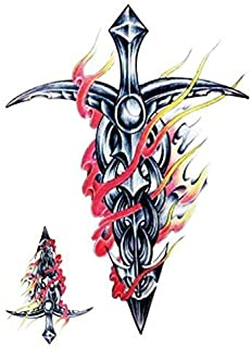 Yesallwas Cross Sword with Fire Winds Temporary Tattoo Sticker 3 Sheetst, Long Lasting Tattoo Sticker Waterproof arm, feet, Body, Chest, Shoulder, back15x21cm/5.9x8.26inches (LxW)