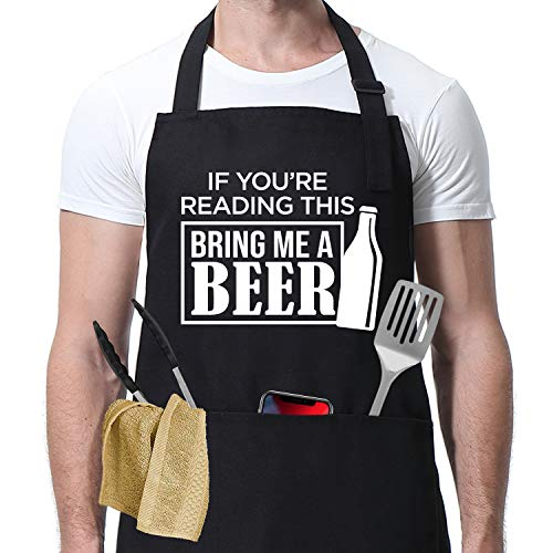 Miracu Funny Aprons for Men, Mens Apron - Bring Me A Beer - Beer Lovers Gifts for Men - Birthday Beer Gifts for Drinker, Dad, Boyfriend, Husband, Friends - BBQ Grilling Cooking Chef Apron w/ Pockets