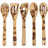 Star Wars Burned Wooden Spoons for Cooking, Bamboo Spoons Utensil Set Friends Gifts Idea for Women and Men, 5 Piece Cooking Serving Utensils Natural Kitchen House Warming Presents Slotted Spoon