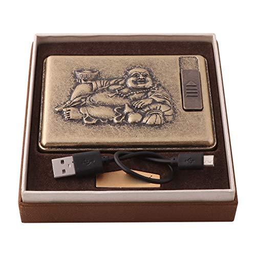 HEKQ Caja De Cigarrillos Retro Caja De Tarjeta De Crédito, Material De Bronce con Encendedor De Arco Dual USB Recargable, Sin Llama, A Prueba De Viento, A Prueba De Humedad, Pitilleras,B