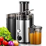 "Juicer Machine, Centrifugal Juicer Extractor with Wide Mouth 3"" Feed Chute for Fruit Vegetable, Easy to Clean, Stainless Steel, BPA-free, by Yabano"