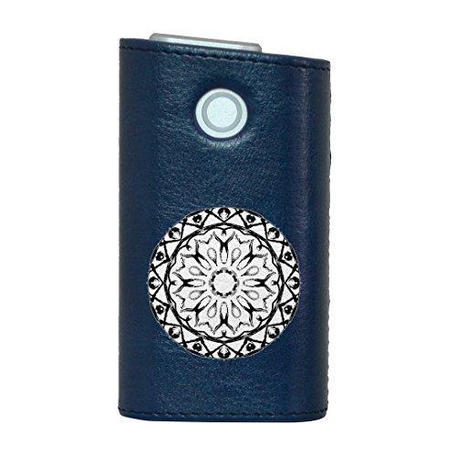 glo グロー グロウ 専用 レザーケース レザーカバー タバコ ケース カバー 合皮 ハードケース カバー 収納 デザイン 革 皮 BLUE ブルー 模様 円 白黒 014749
