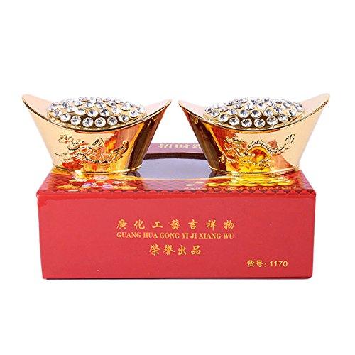 Set 2 Feng Shui Gold Diamant Sycee/Anhänger Ingot W Inklusive Armband K1042 Mxsabrina Rot