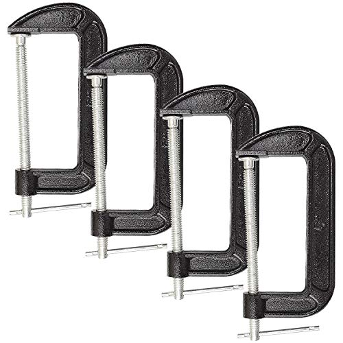 Abuff 4 Piece 6 Inch C-Clamp Set - Industrial Strength, Quality Iron C Clamps for Woodworking, Welding, and Building