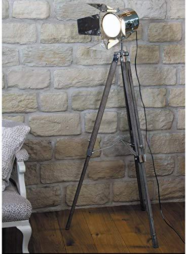 142cm Vintage Retro Theater Stage Thema Statief Chroom & Houten Zoek Licht Spot Lamp Vloerlamp