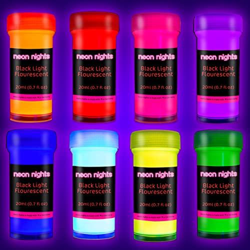 neon nights 8 x Pintura Luz Negra Pintura UV Neón Flourescente 8 x 20 ml