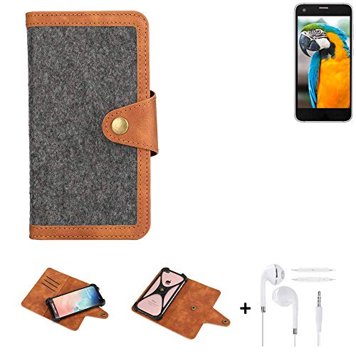 K-S-Trade® Handy-Hülle + Kopfhörer Für Vestel V3 5040 Schutz-Hülle Filz-Hülle Kunst-Leder Dunkelgrau Braun (1x)