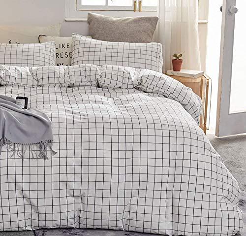 CoutureBridal Housse de Couette 220x240cm + 2 x Taies d'oreiller 65x65cm Moderne à Carreaux Noir et Blanc Linge de Lit Géométrique 2 Personne