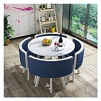 耐久性のあるテーブルと椅子のセット ダイニングテーブルと椅子コンビネーションモダンデザインレジャー表80センチメートルの大理石円卓のシンプルなスタイルホームバルコニーリビングルーム DYYD (Color : Navy Blue)
