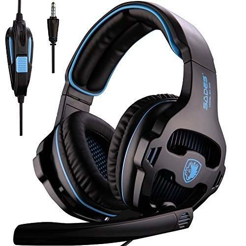 PS4 Gaming Headsets, Sades SA810 Xbox one Gaming Headphones 3.5MM Interface with MIC in-Line Control for Multiplatform PC/Xbox one/PS4/MAC/Tablet (Black Blue) Headsets