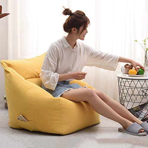 Yuzhijie Sofá cuadrado perezoso puf de ocio sala de estar dormitorio perezoso silla red de algodón rojo simple sofá extraíble y lavable, amarillo - EPP