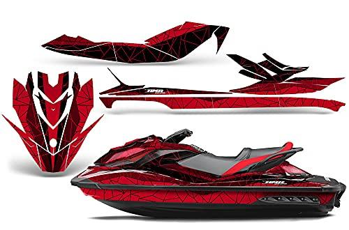 AMR Racing Jet Ski Graphics kit Sticker Decal Compatible with Sea-Doo GTI SE130 2011-2019 - Geometrik Red