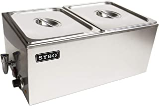 SYBO Ma ZCK165BT-2 Commercial Grade Stainless Steel Bain Marie Buffet Food Warmer Steam Table for Catering and Restaurants, (2 Sections with Tap), Sliver