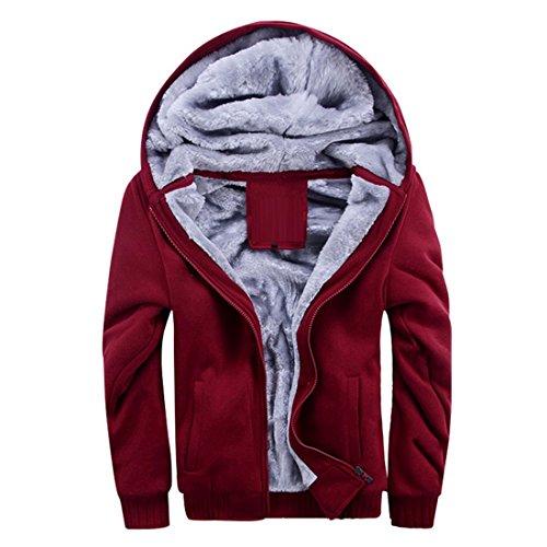 Vertvie Homme Hiver Chaud Sweats à Capuche Polaires Doublé Hoodie Veste Épaisse Sweat-Shirts Outwear Casual (L, Rouge)
