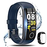 Fitness Tracker,Smart Watch with Body Temperature Thermometer Heart Rate Blood Pressure Monitor Step Calorie Sleep Monitor IP67 Waterproof, Activity Tracker Pedometer for Kids Men Women (Blue+Black)