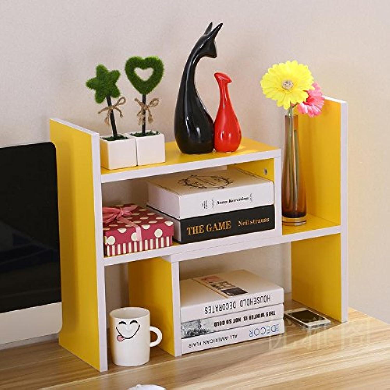 Creative telescoping bookshelves desktop bookshelves table shelf rack shelf easy office little bookshelf , Yellow (high-end)