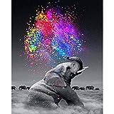 LYWUSUZE Peinture par Numéros pour Adultes sur Toile Éléphant Cigarette Animal Adultes Bricolage Enfants Débutants Toile Peinture À l'huile Accueil Unique Cadeaux Décoratifs
