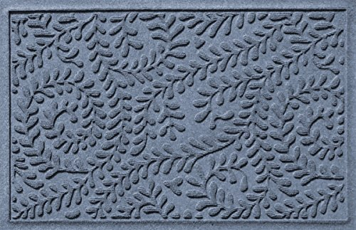 Bungalow Flooring Waterhog Door Mat, 2' x 3' Made in USA, Durable and Decorative Floor Covering, Skid Resistant, Indoor/Outdoor, Water-Trapping, Boxwood Collection, Bluestone
