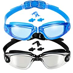 WHAT'S IN THE BOX? There are 2 PAIRS of swimming goggles come in a coloured box, which is not only great for storing your goggles but also as a pretty gift for your friends. ANTI FOG&UV PROTECTION: UV protection and anti-fog coating provide you an ex...
