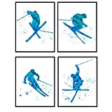Freestyle Skiing Watercolor Wall Art Print Set - Cute Home Decor for Boys, Teens, Kids Bedrooms, Den and Office - Great Gift for Skiers and Extreme Sports Fans - Four 8x10 Photos - Unframed