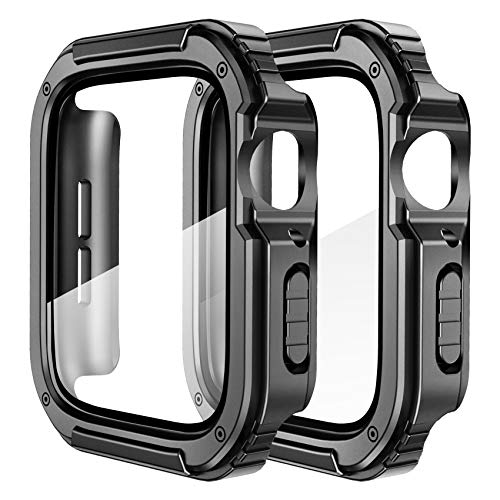 SUPOIX 2 Pack Compatible for Apple Watch Case 44mm with Tempered Glass Screen Protector, Men Women Rugged Shockproof All Around Protective Bumper Cover Accessories for Series 6/5/4/SE (44mm)
