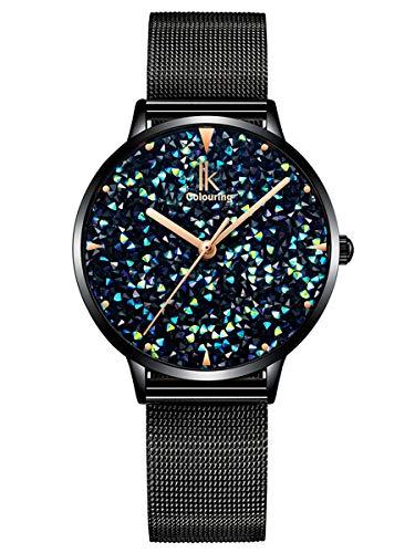 Alienwork Damen-Armbanduhr Quarz schwarz mit Metall Mesh Armband Edelstahl blau Strass-Steinen Glitzer...