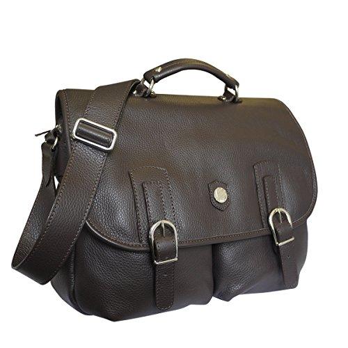 Bonfanti Genello italiana colgajo bolsa de cuero sobre el maletín (marrón)