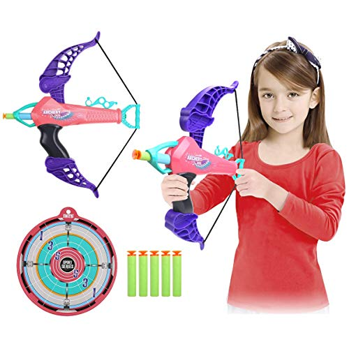 SubClap Bow and Arrow Toy Archery Set for Kids with 25 Suction Cups Arrows,Target Play Game Practice Outdoor Shooting Toys for Boys Grils,Suit for 3,4,5 and Up Years Old, Pink