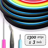 Enenes Quilling Paper 1300 Colorful Paper Strips with 3 Quilling Tools 26 Colors Art Paper Strips Set of 4 Sizes for Crafts and DIY