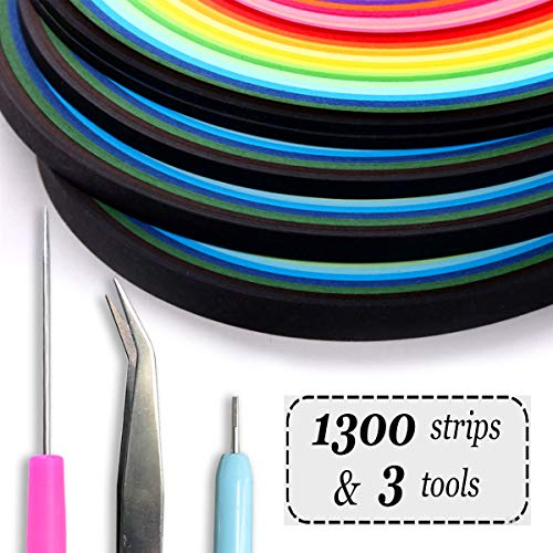 Enenes Quilling Paper 1300 Colorful Paper Strips with 3 Quilling Tools 26 Colors Art Paper Strips Set of 4 Sizes for Crafts and DIY (1300 Colorful Paper Strips)