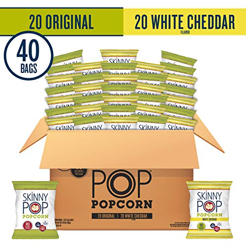 Best Price! SkinnyPop Popped Popcorn Variety (Original & White Cheddar), Individual Bags, Healthy Sn...