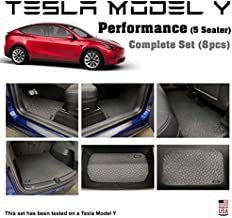 YelloPro Auto Custom fit Floor Mat Complete Set - for 2020 2021 Tesla Model Y Performance -5 Seater- Waterproof All Weather Heavy Duty Black Rubber [Made in USA]