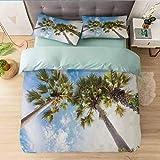 Aishare Store - Juego de funda de edredón de 3 piezas con 2 fundas de almohada, diseño de palmeras y palmeras